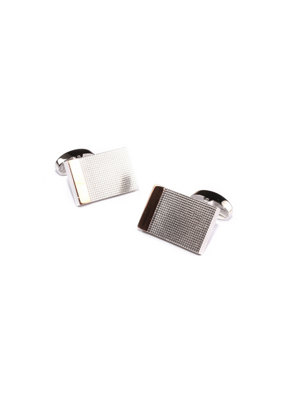 Studded Rectangle Bar Cufflinks Silver
