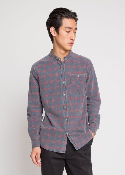 Tradie Check Shirt Navy and Red