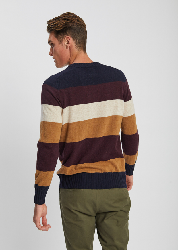 Edgar Stripe Knit Navy Blue