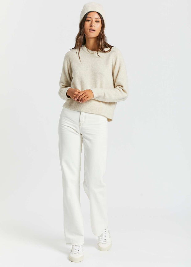 Nor O-Neck Short Knit Eggnog Mel