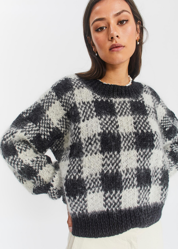 Gingham Hand Knit Sweater