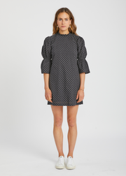 Gathered Sleeve Mini Dress Black White