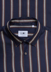 Errico Tencel Shirt Navy Stripe