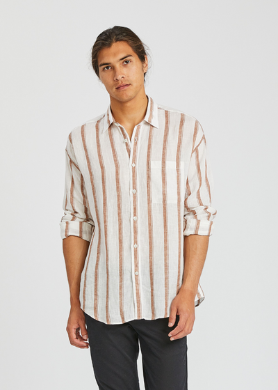 Deon Shirt Brown Stripe