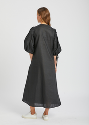 Full Sleeve Long Dress With Ties Black