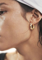 Gem in a Hoop Earring Gold
