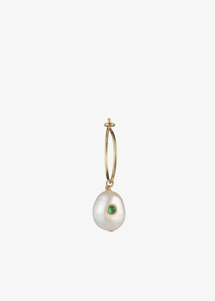 Pearl Hoop Single Green Agate