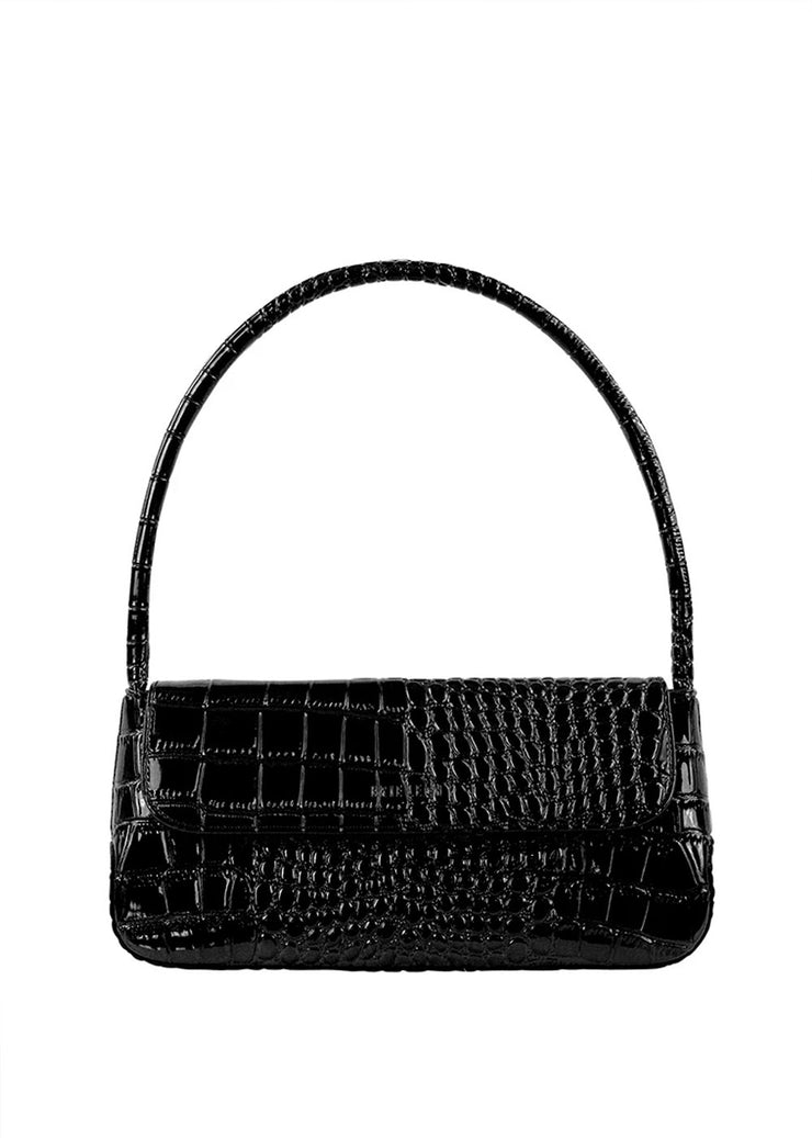 The Camille Bag Black Oily Croc