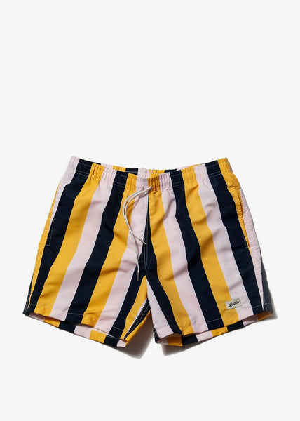 Swim Trunk Pink Yellow Stripe