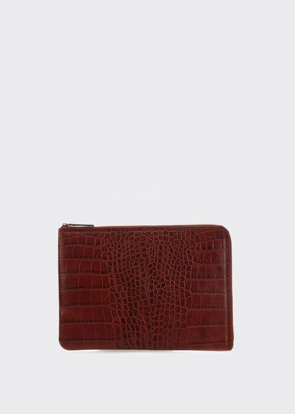 Bond Croco Laptop Sleeve Cognac