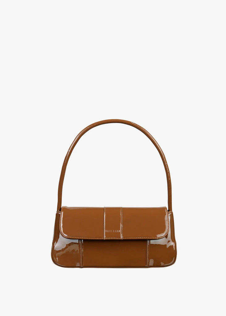 The Camille Bag Muted Brown Patent