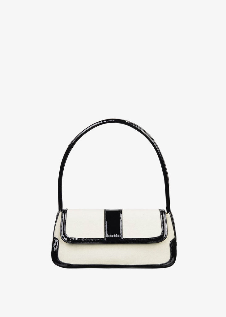 The Camille Bag Black Patent White Canvas