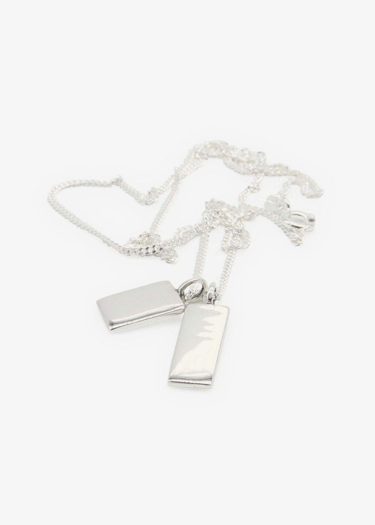 Double Tags Silver Necklace