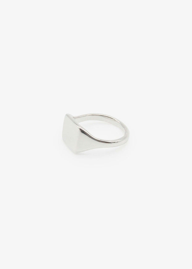 Slim Square Signet Ring Silver