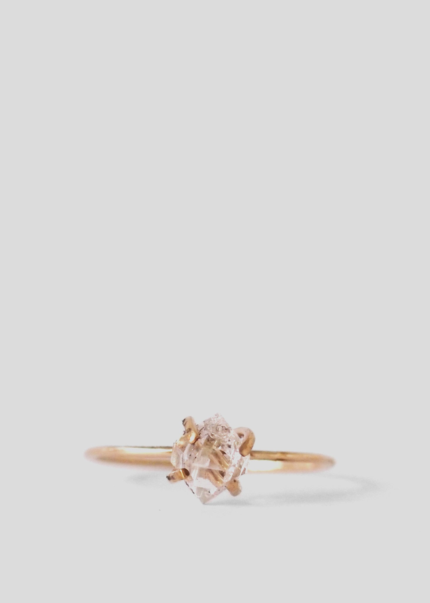 Solitaire Ring 9CT Gold, Raw Herkimer Diamond