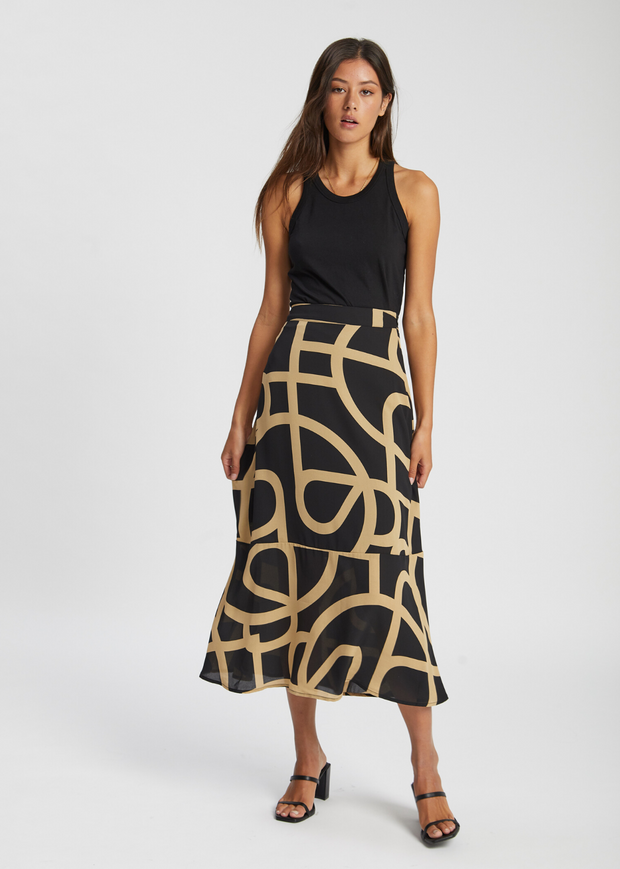 Leyla Maxi Skirt Just A Sign Print