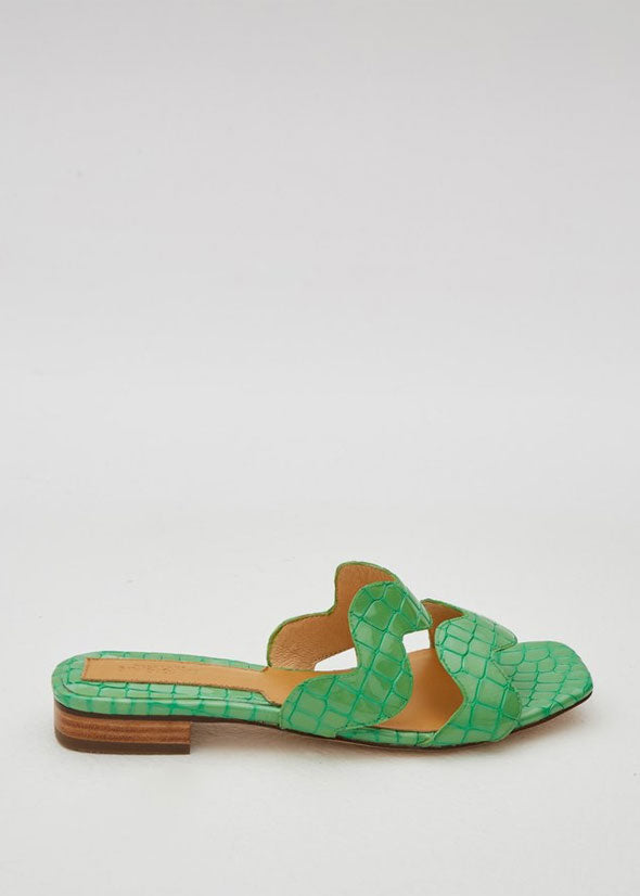 Scallop Croc Flat Lime Green