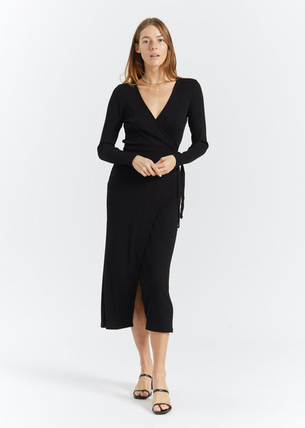 Edda Wrap Dress Black