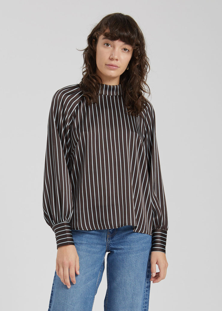 Rosie Blouse Pearl Coffee Stripe