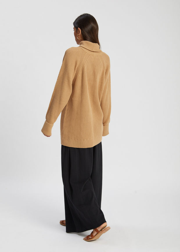 Henri Roll Neck Jumper Camel