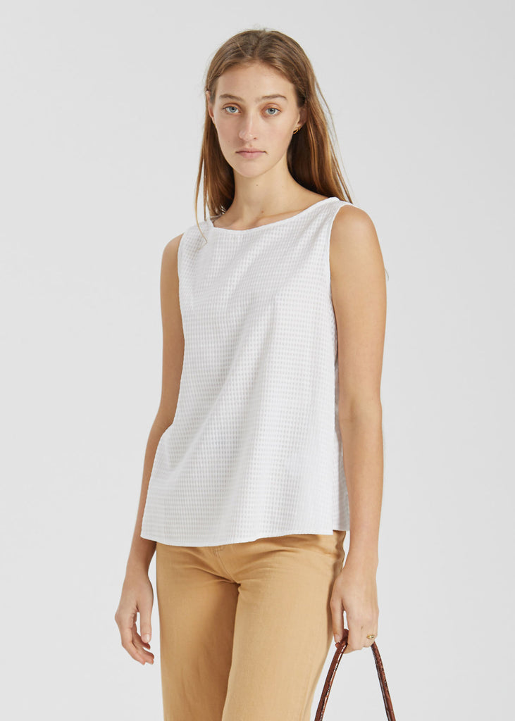 Cleo Top White Check