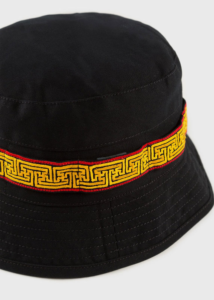 Embroidered Bucket Hat Black Flare Red