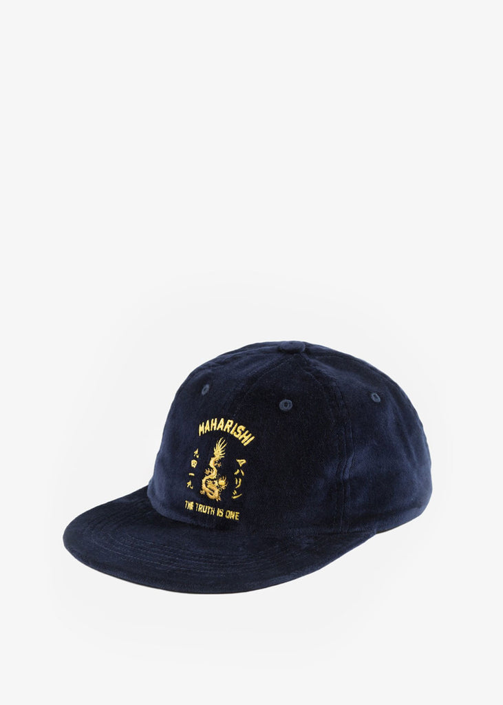 OG Sun Dragon 6-Panel Cap Navy Velvet Dragon Embroidery