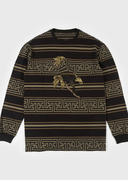Embroidered Striped LS T-Shirt Woodland