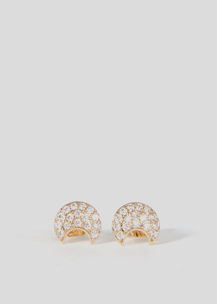 Moon Stud Earrings 18ct Gold