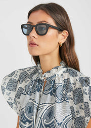 Telena Sunglasses Black Blue Mineral Lens