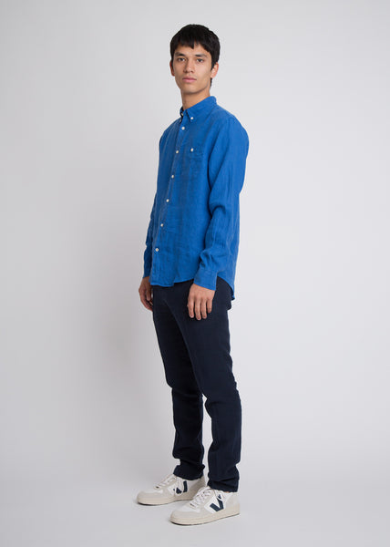 New Derek Linen Shirt Cobalt Blue