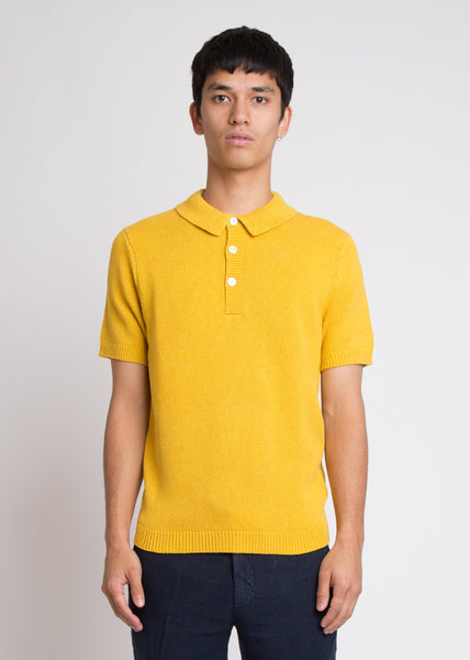 Short Sleeve Polo Knit Yellow
