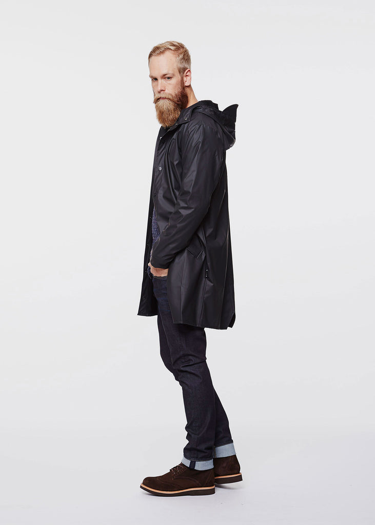 Long Jacket Raincoat Black