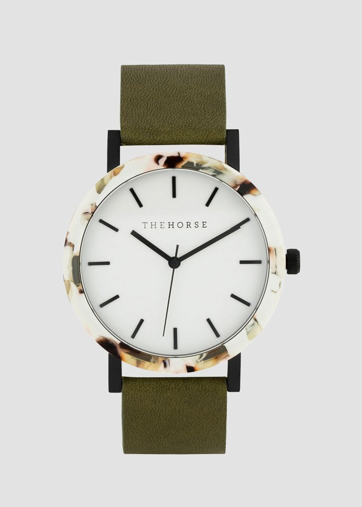 Resin Watch Nougat/White Dial/Olive Band