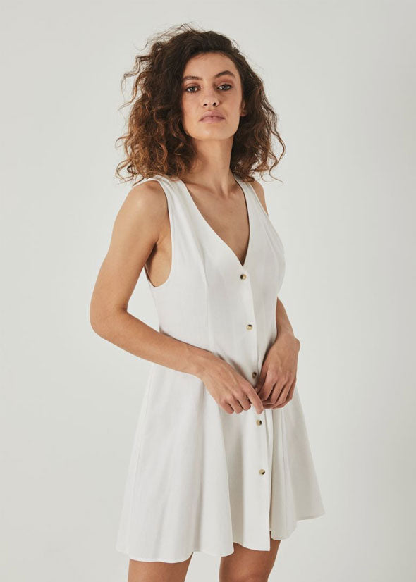 Linen Milla Tank Dress White