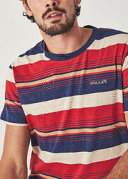 Old Mate Stripe Logo Tee Multi Stripe