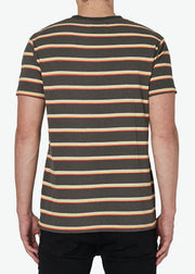 Old Mate Logo Tee Charcoal Stripe