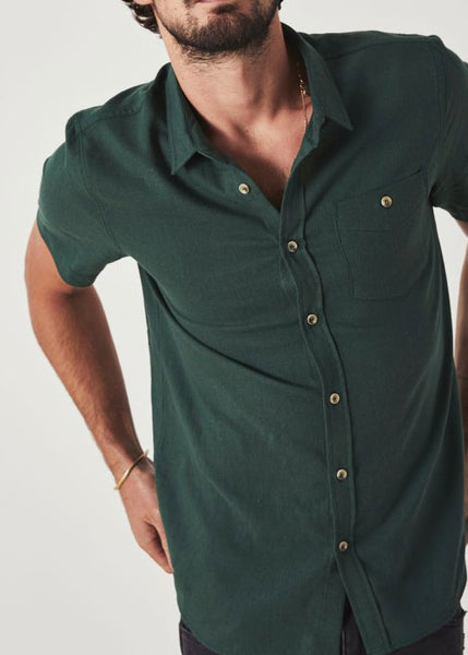 Men At Work Linen Shirt Dark Green