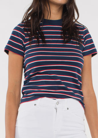 Saturday Stripe Tee Navy/Red