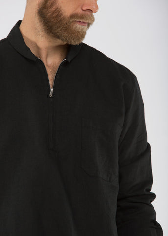 Shawl Zip Shirt Black