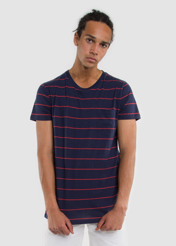Split Pocket Stripe Tee Navy/Red