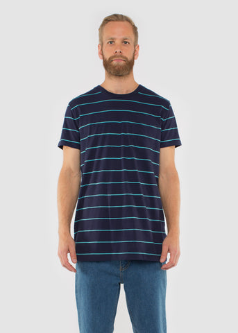 Split Pocket Tee Navy/Aqua