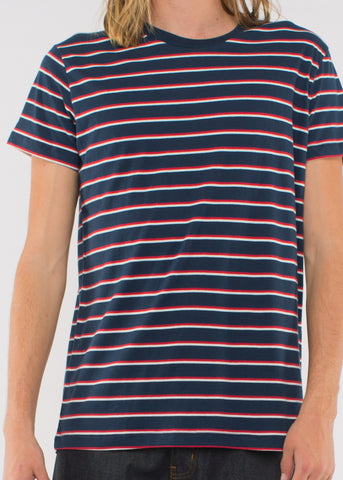 Sunday Stripe Tee Navy/Red