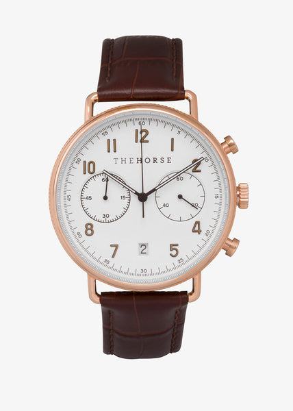 Chronograph Watch Rose Gold/White Dial/Brown Leather
