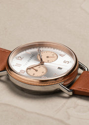 The Mini Chronograph Polished Rose Gold + Silver/Tan Leather