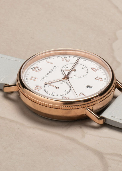 The Mini Chronograph Polished Rose Gold/White Dial/Grey Leather