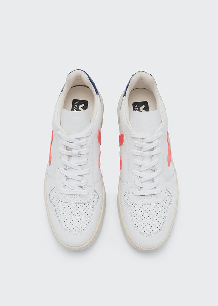 V10 Shoes Leather Extra White Orange Fluo Cobalt