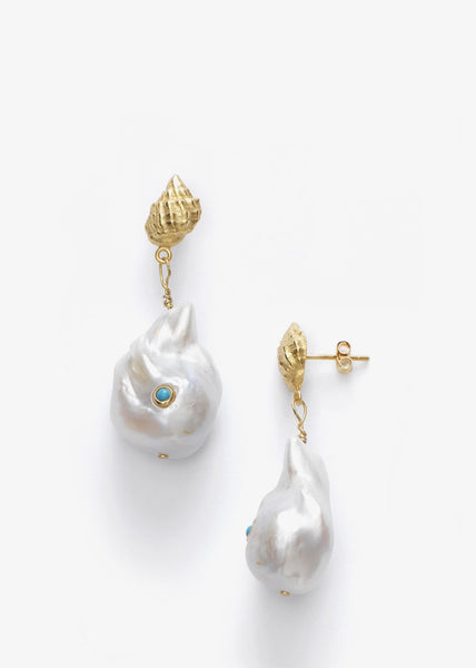 Baroque Pearl Shell Earrings Turquoise