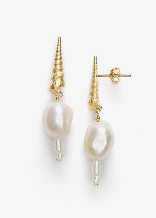 Turret Shell Baroque Pearl Earrings Gold