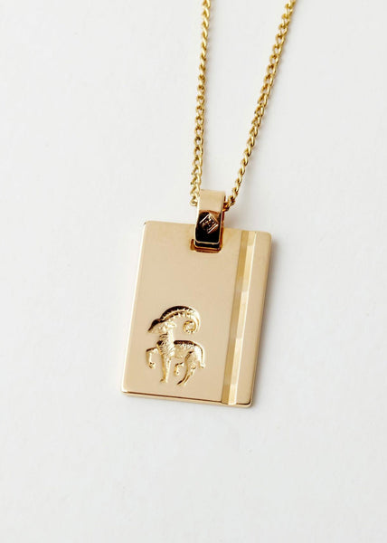 Aries Star Sign Pendant and Chain Gold